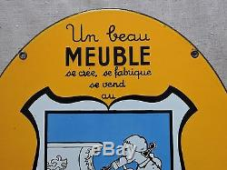 Plaque émaillée ovale double face Meuble Faubourg Saint Antoine PARIS