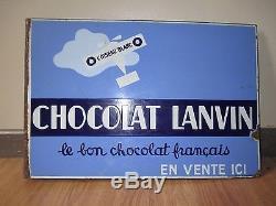 Plaque émaillée potence double face CHOCOLAT LANVIN L'OISEAU BLANC E. A. S