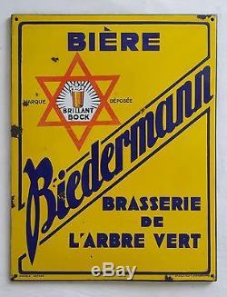 Plaque émaillée publicitaire Bière BIEDERMANN Brasserie Alsace Pfaffenhoffen