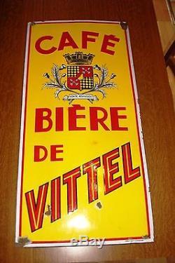 Plaque émaillée publicitaire Bière de VITTEL Brasserie Café VITTEL