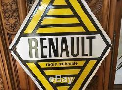 Plaque émaillée publicitaire ancienne Renault régie nationale émaillerie Alsace