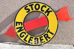 Plaque émaillée publicitaire en découpe Stock Englebert /pneu garage bidon huile