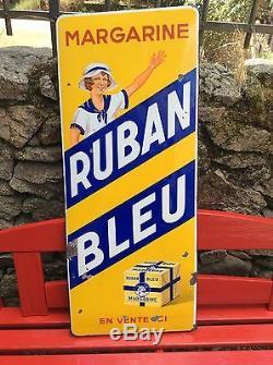 Plaque Émaillée ruban bleu