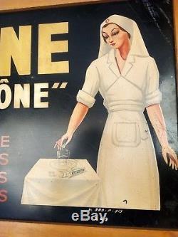 Plaque peinte no émaillée Aspirine du Rhône infirmière 90 cm x 50 cm rare