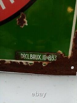 Plaque publicitaire ancienne émaillée 1953 Singer Bruxelle Grande Taille