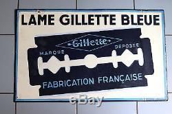 Plaque publicitaire émaillée GILLETTE ancienne 77 cm