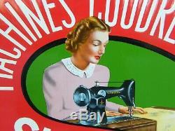 Plaque publicitaire en tôle émaillée Machines à Coudre Singer Ancienne