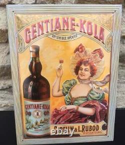 Plaque publicitaire en tôle lithographiée Gentiane Kola