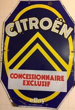 Plaque publicitaire émaillée ancienne CITROËN concessionnaire