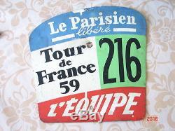 Plaque tôle Tour de France cycliste 1959 d'époque