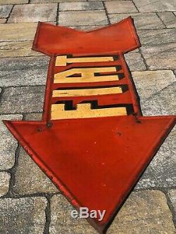 Plaque tole ancienne flèche publicitaire Fiat garage service servizio auto huile