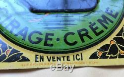 Plaque tôle litho publicité Cygne Noir, cirage crème, 16,5x16,5 cms