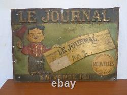 Plaque tole peinte publicitaire Le Journal Caran d'Ache emmanuel Poirée 1858-09