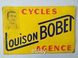 Plaque tole publicitaire ancienne Louison Bobet vélo plaque emaillee