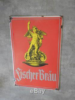 Plaques émaillée fischer brau beer publicité bière pud bar caveau bistrot old