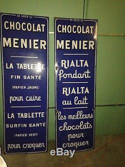 Plaques publicitaires anciennes émaillées chocolat Menier