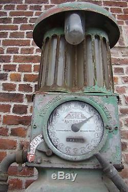 Pompe essence ASTER automatique 1951 deco loft jieldé, garage plaque emaillée