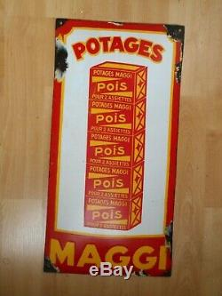 Potages Maggi Pois Pour 2 Assiettes. Plaque Emaillee Ancienne Bombee