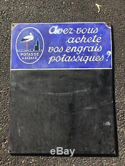 Potasse D'Alsace Ancienne Plaque Émaillée Porte Menu