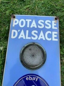 Potasse d'ALSACE Plaque émaillée ancienne grand thermomètre vintage déco