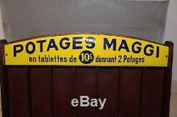 Présentoir POTAGES MAGGI avec sa plaque émaillée no plâtre latex publicitaire