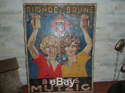 Pub ancienne plaque en tole-bieres mutzig blonde ou brune