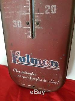 Publicité ancienne plaque tole peinte thermomètre FULMEN no émaillée