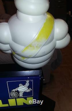 Rara Insegna Targa Luminosa Pubblicitaria Con Omino Michelin