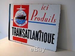 RARE ANCIENNE PLAQUE EMAILLEE TRANSATLANTIQUE france drapeau ENAMELLED PLATE