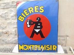 Rare Ancienne Plaque Emaillée Bière Montplaisir Pur Jus