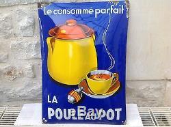 Rare Ancienne Plaque Emaillée Bombée La Poule Au Pot Pur Jus