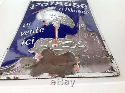 RARE ANCIENNE PLAQUE EMAILLÉE BOMBÉE SEL DE POTASSE D ALSACE 1930 PUR JUS