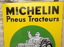 RARE ANCIENNE PLAQUE EMAILLÉE MICHELIN PNEU TRACTEUR ÉTAT MINT PUR JUS