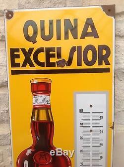 Rare Ancienne Plaque Émaillée Thermomètre Quina Excelsior Apperitif