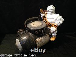 RARE & Ancien Compresseur Michelin Bibendum 1930 Gonfleur! Bidon huile