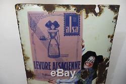 RARE Ancienne Plaque émaillée bombée LEVURE ALSACIENNE ALSA Strasbourg