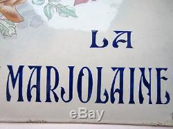 RARE, Ancienne plaque de villa Napoléon III tôle bombée émaillée LA MARJOLAINE