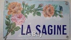 RARE Ancienne plaque de villa émaillée LA SAGINE