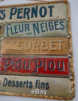 RARE Ancienne tole litho en relief BISCUITS PERNOT no plaque émaillée