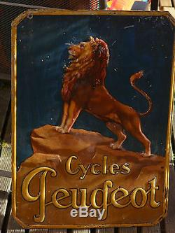 Rare Et Ancienne Plaque Emaillee En 3d Recto Verso Cycle Peugeot Tole Velo