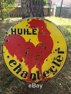 RARE GRANDE PLAQUE ÉMAILLÉE ANCIENNE CHANTECLER Bidon Dhuile Enamel Sign