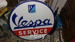 Rare Plaque Emaillee De Garage Scooter Vespa Service 1950