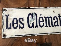 RARE PLAQUE EMAILLEE DE VILLA Les Clematites Ancienne 1900