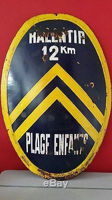 RARE PLAQUE EMAILLEE ancien panneau routier Don de Citroën