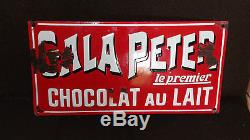 Rare Plaque Emaille Ancienne Gala Peter Le 1er Chocolat Au Lait