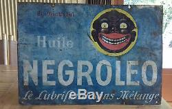 Rare Plaque/tole Publicitaire Recto Versoen Vente ICI Huile Negroleo