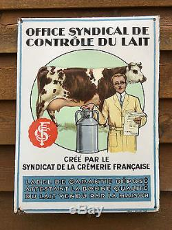 RARE Plaque Emaillée 1930 Office Syndical de Controle du Lait Email. Als. Stras