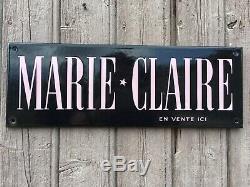 RARE Plaque Émaillée MARIE CLAIRE NOIRE Écriture ROSE