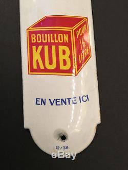RARE Plaque Emaillée de Propreté Bouillon KUB 1930! RARE! 5 x 20 cm