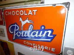 RARE Plaque émaillée Ancienne, originale, EASH, CHOCOLAT POULAIN CONFISERIE 1950